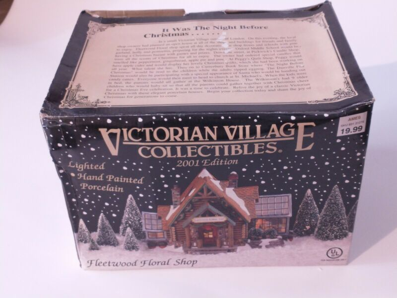 Christmas 2001 Ed. Victorian Village Collectibles Lighted Fleetwood Floral Shop