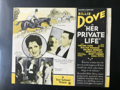 "Her Private Life 1929 First National 5x1/2x7"" herald Billie Dove Walter Pidgeon"