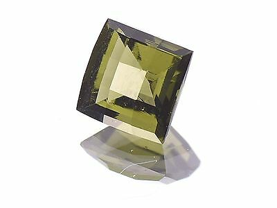 2.36cts square 8mm CHECKER TOP moldavite faceted cutted gem BRUS1365