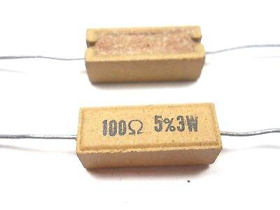 100 Ohm 3 Watt 5 Wire Wound Power Resistor Nos New Old Stockqty 10 Ead56
