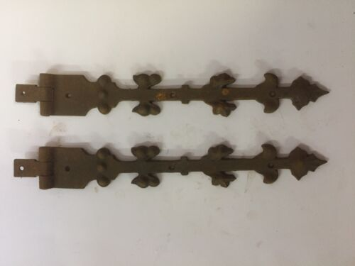 Pair Early Ornamental Iron Hinge Straps with Leaf Design~ HW25