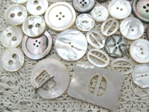 VINTAGE LOT OF 50 LARGER MOTHER OF PEARL SHELL BUTTONS & BUCKLES