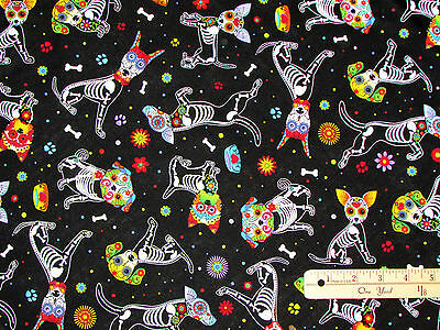 Day of the Dead Pup Dog Dia de los Muertos Halloween Fabric by the 1/2 Yd - Day Of The Dead Crafts
