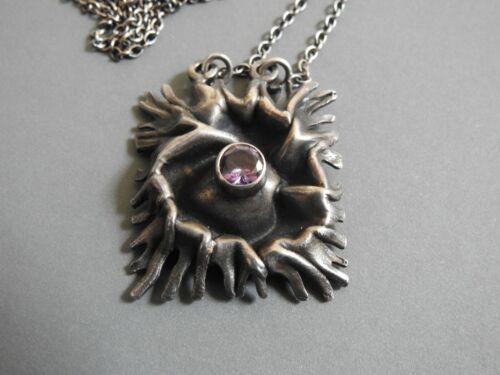 vtg 925 sterling silver necklace pendant on chain MODERNIST BRUTALIST amethyst