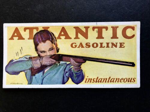 1928 ATLANTIC GASOLINE PRETTY LADY AIMS SHOTGUN McCLELLAND BARCLAY ART BLOTTER
