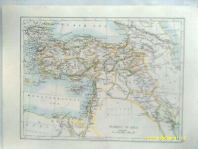 Double-sided Antique Map. TURKEY IN ASIA  /  PALESTINE. c1895. VG
