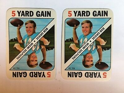 1971 Topps (2) Bob Griese #29 Football Card Inserts in NM Condition