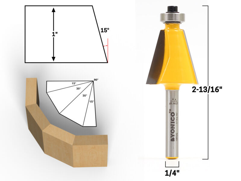 "15 Degree Chamfer Edge Forming Router Bit - 1/4"" Shank - Yonico 13912q"