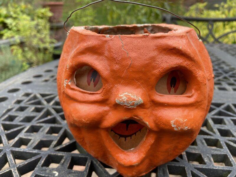 Vintage Paper Mache Double Side Face Pumpkin with Original Inserts