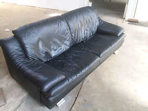 Georgous 3 seater black leather sofa.  Can deliver Lilyfield Leichhardt Area Preview
