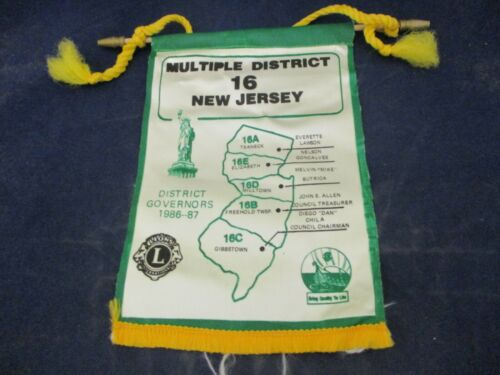Vintage Lions Club Banner Flag 1987 New Jersey District 16 Governors