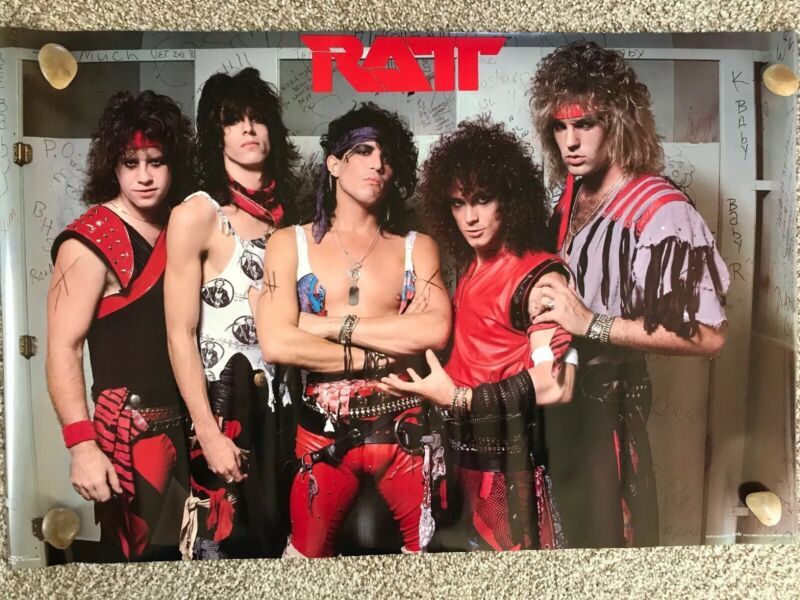 "Vintage NOS Wall Poster RATT Bathroom, Music, 1984, Stephen Pearcy, 34""x22"""