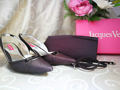 #11 Jacques Vert Espresso Range Slingback Shoes Size 6.5 and Matching Bag