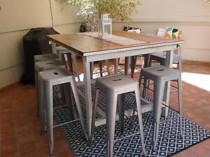 Outdoor industrial bar style table and bar stools East Perth Perth City Area Preview