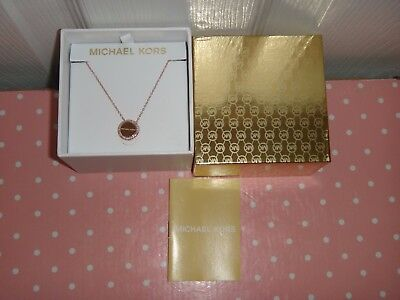 Michael Kors Women's Brilliance Rose Gold MK Necklace Crystals MKJ6180791 + BOX