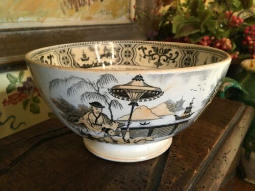 Antique Dutch Pottery Chinoiserie Bowl Maastricht