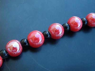 1 Sarta unas 24 bolas cerámica 11mm Rojo ceramica bola abalorios cuentas...