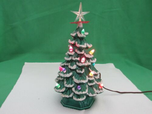 """Vintage Green 14"""" Ceramic Christmas Tree With Base & Colored Lights"""