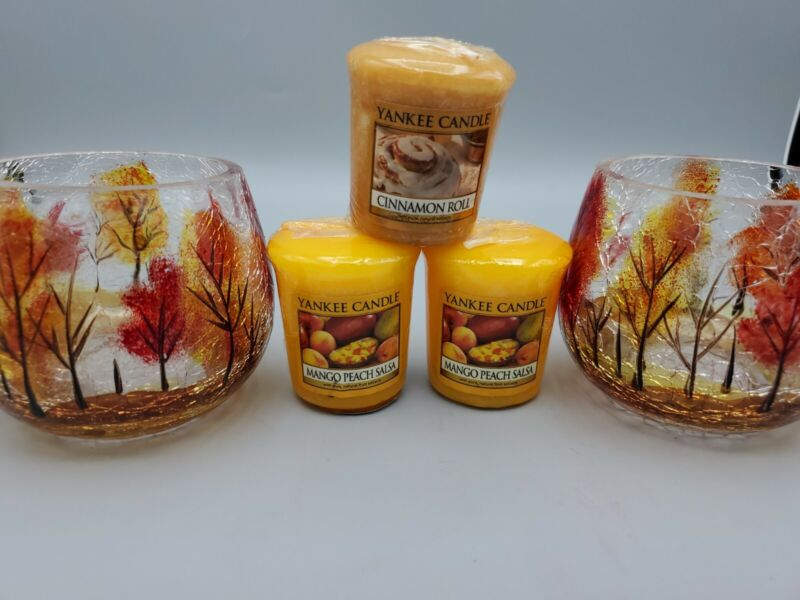 Yankee Candle Fall Autumn Leaves Trees Crackle Glass Votive Holders & 3 Candles