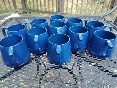 Vintage Lot Of 11 Dark Blue Heritage Insulated Mug Cup By Dinex Melamine