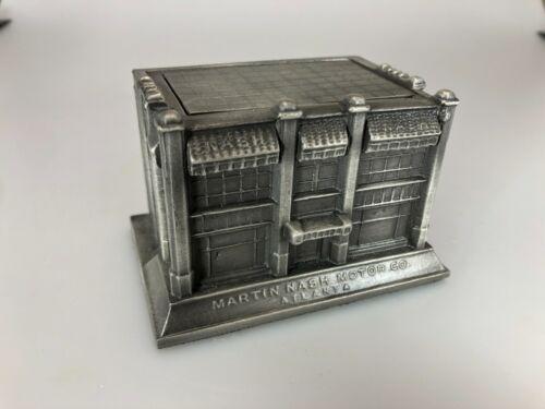 Rare Pewter Martin Nash Motor Souvenir Building Recast