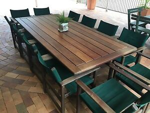 Solid Kwila Outdoor Dining Table with 12 Chairs North Ipswich Ipswich City Preview