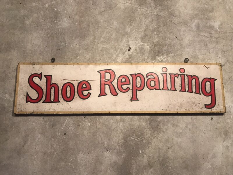 Vintage Advertising Trade Sign Shoe Repairing Painted Masonite W/Wood Frame