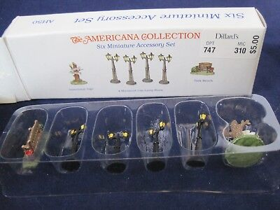 American Pewter Collection Miniatures Dillards 6 Figures Lampost w Box