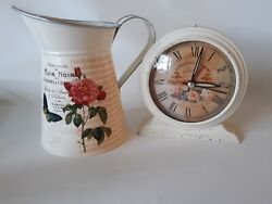 French Country Inspired Alarm Clock  Pitcher Set Paris Flowers Decor Shabby Chic