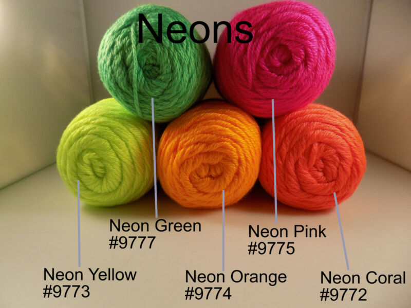 Neon Yellow #9773 Green #9777 Pink #9775 Orange #9774 Coral #9772