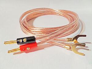 2m Banana  Plug Lead To Gold Spades cable Lead speaker HI FI Sound barSub woofer