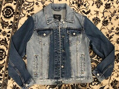 Abercrombie And Fitch Womens Denim Jean Jacket Two Tone Size Large New Long Slee