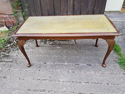 Vintage Rectangular Coffee Table with Leather & Glass Top, Queen Anne Legs