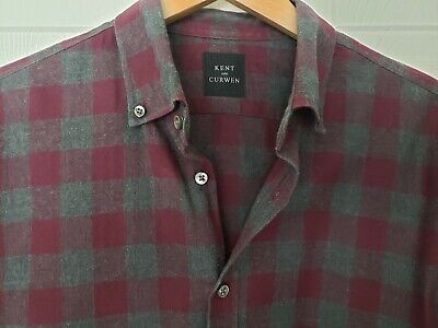 MEN'S KENT and CURWEN Check COTTON Long Sleeve Gray Maroon Shirt Size L