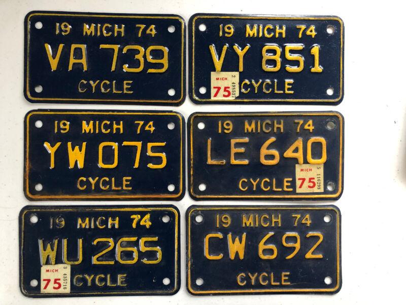 6x Vintage 1974 Michigan Motorcycle Cycle License Plates