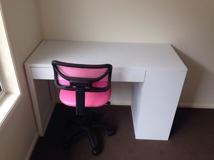 White desk with drawer and shelves and chair Pacific Pines Gold Coast City Preview