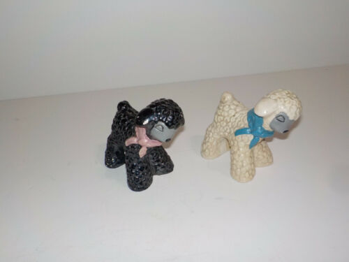 2 Sheep-Lamb Figurines Chalkware Hand Painted Unmarked Blue Bow White Black