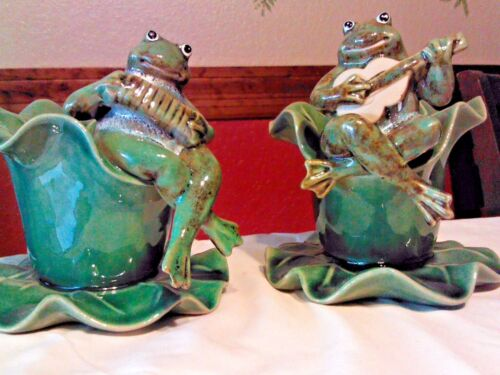 Two Ceramic Frogs Playing Musical Instruments Guitar Accordion Flower Pots