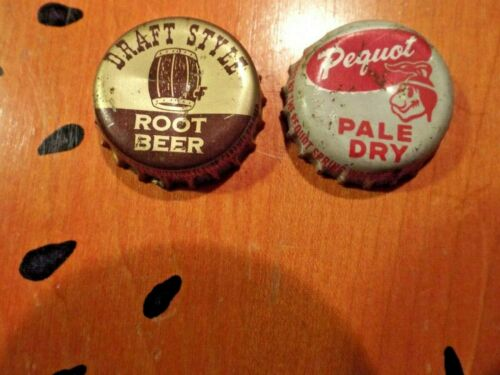 Soda pop bottle caps  DRAFT STYLE ROOT BEER & Pequot Pale Dry