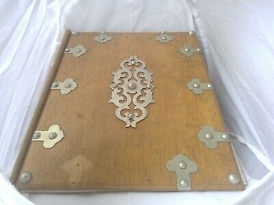 Victorian oak and metal desk blotter