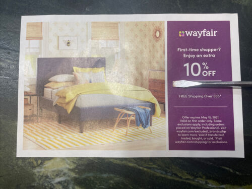 Wayfair 10 Off ENTIRE Purchase Exp 6/14/2021, Valid On FIRST ORDER Only - $4.89