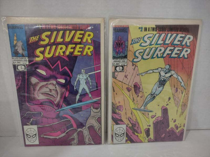 Complete Set of The Silver Surfer 1-2 Marvel 1988 Stan Lee Moebius Galactus FF