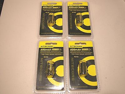 4 Pc Genuine Nitecore Rcr123a  Rechargeable Li Ion Battery 16340 Nl166 3 7V