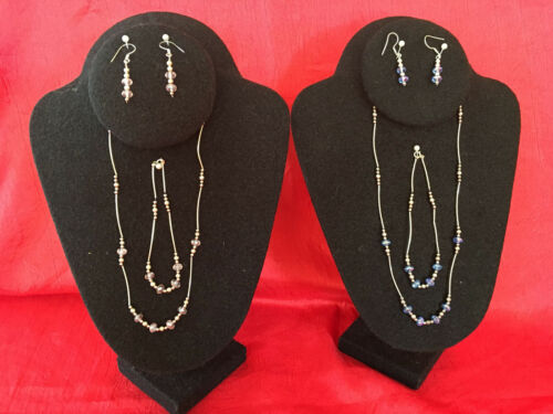 Sterling Silver with Crystal Bead 3-piece sets