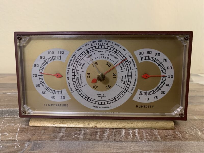 1950s Taylor Stormoguide Temperature Humidity Barometer  Weather Station WORKS