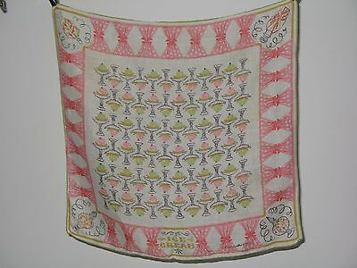 "Vintage Betty Anderson Ice Cream Sundae Handkerchief 15"" x 14"""