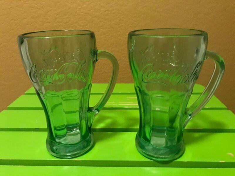 2 Libbey Green Tinted Coca-Cola Glass Mugs Coca Cola Mug Coke USA 14.5 oz Retro