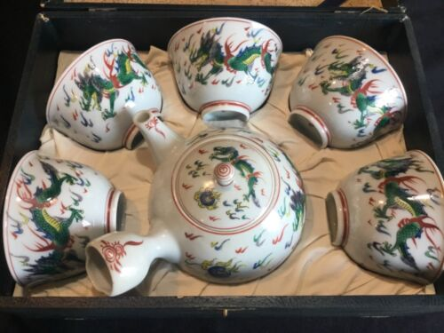 Vintage Chinese Porcelain Tea Set w/ Hand Painted Enamel Dragons in Fitted Case