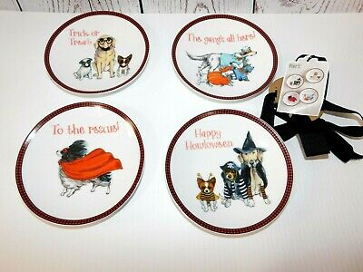 Halloween Themed Appetizers (New Pier 1 Set of 4 Appetizer Plates Halloween Dog)