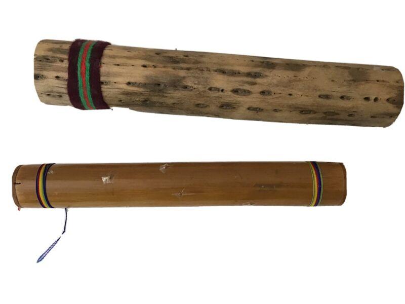 "Lot of 2 Bamboo/ wood Rain stick Rainmakers Instrument 12"" & 13.5"" Shaker (S11)"